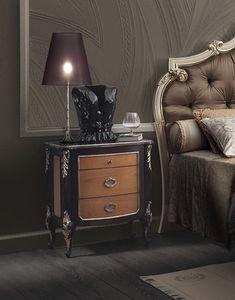 R89 / mesita de noche, Mesa de noche de tres cajones, decoraciones hechas a mano