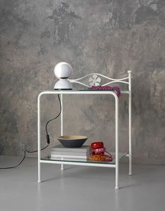 Albatros Bedside Table, Mesita de luz en metal con estantes de cristal, decoración floral