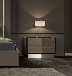 Beverly mesita de noche, Mesita de noche en madera y metal, estilo contemporáneo.