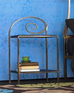 Capriccio Bedside Table, Mesita de metal con las decoraciones, para habitaci�n de hotel