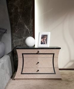 CD30 Cartesio mesita de noche, Mesa de noche de madera con tapa de m�rmol