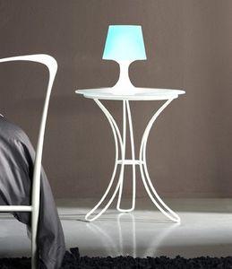 Fiocco nightstand, Mesita de noche con base de metal y satén tapa de cristal