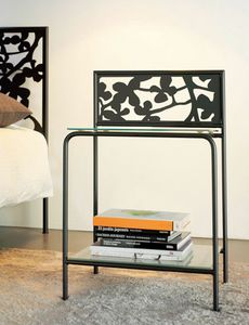 Flower Bedside, Mesita de metal moderno con estantes de vidrio