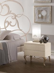 Ghirigori mesita de noche, Mesa de madera con base de hierro, para los dormitorios