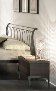 Gio mesita de noche, Mesa en hierro y madera, sistema de cierre suave
