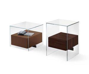 Kit Bedside table, Lado de la cama en vidrio con cajón de madera