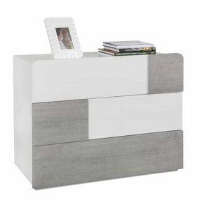 Mesilla de noche Blanco Brillante 3 Cajones Efecto de hormigón Diseño moderno, Mesita de noche moderna para dormitorio