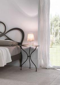 Mesita de noche Giotto, Mesa de dormitorio con forma de mesa, en el corte por láser de hierro