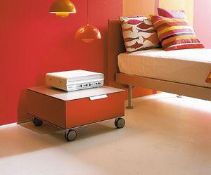 PRISMA comp.06, Mesita de noche moderna con ruedas, para la habitación de los niños