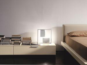 PRISMA comp.08, Mesita de noche moderno, diseño lineal, para el dormitorio