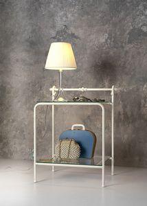 Versilia nightstand, Mesita de noche clásica en metal y vidrio, para la habitación del hotel