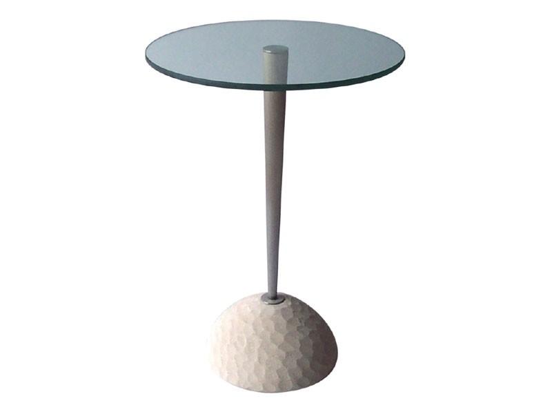 Egon, Mesa redonda de piedra y vidrio, para bares y restaurantes