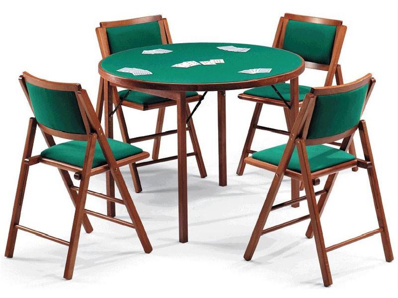 Gioco 111 table, 105IMB chair, Mesa de juego con la tela verde, tapa redonda