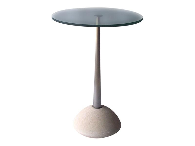 Memo, Mesa redonda de piedra y vidrio, para bares y pubs