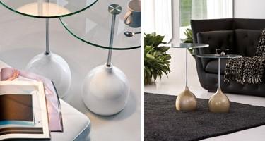 ADACHI, Mesa de café con diseño alternativo, en vidrio y mármol