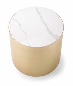 ALEXANDER COFFEE TABLE 084 H45, Mesa de centro redonda con tapa de mármol