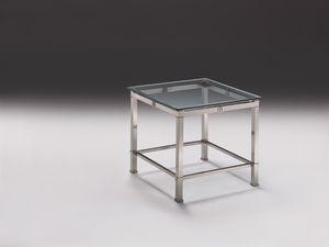 AMADEUS 3064, Mesa auxiliar moderna en latón niquelado, tapa de cristal, Salón