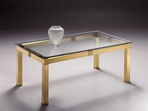 AMADEUS 3066, Mesa de centro rectangular en latón, tapa de cristal
