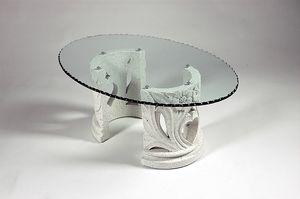 Amos, Mesa de centro de estilo clásico con tapa de cristal