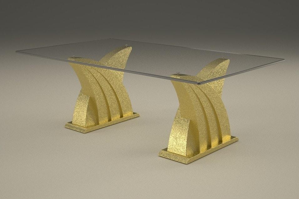 Ares, Mesa de centro con base de piedra doble
