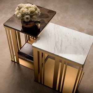 ATMOSFERA mesa auxiliar, Mesa auxiliar con estructura sofisticada, robusta y brillante.