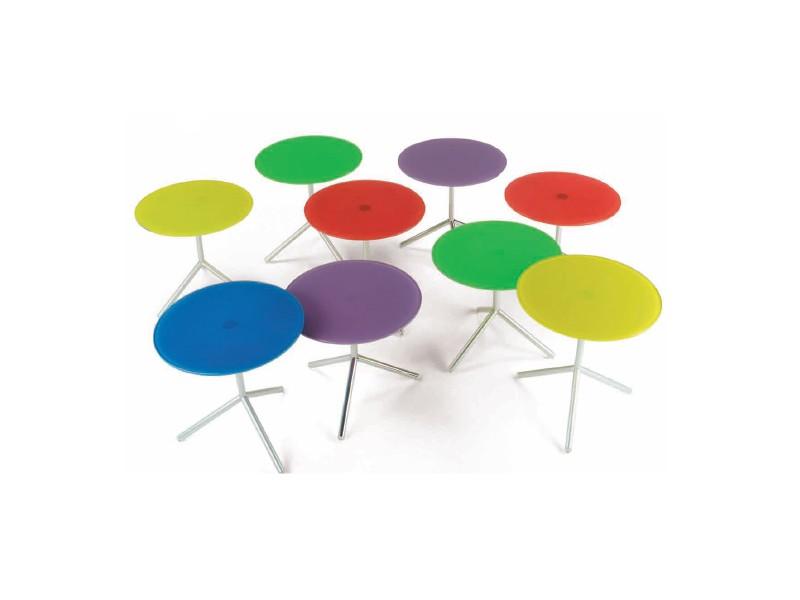 Atom 2, Mesa de centro con tapa hecha de colores de cristal extra