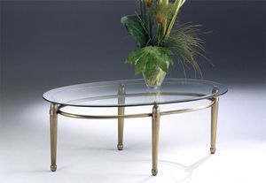 CARTESIO 260, Mesa ovalada de café hecha de latón, tapa de cristal, para sala de estar
