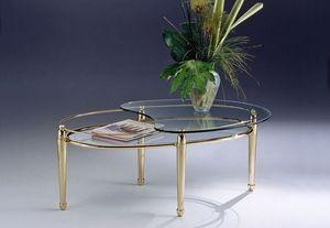 CARTESIO 261, Ovalada de lat�n mesa de caf�, estantes de vidrio 2, para la sala de estar