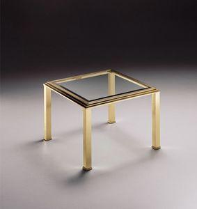 DOMUS 2167 , Baja mesa de centro cuadrada, tapa de cristal transparente