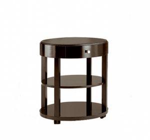 Downtown mesa auxiliar con cajón, Mesa redonda de madera con cajón