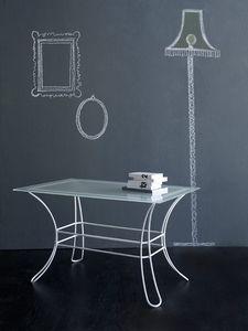 Fiocco Mesa de centro rectangular, Mesa de centro hecha de tubos de hierro, vidrio esmerilado