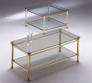 IONICA 664, Latón mesa de café, en vidrio transparente, para sala de estar