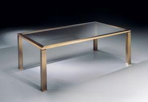 MADISON 3266, Mesa de centro rectangular con tapa de cristal para sala de estar