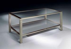 MADISON 3270, Mesa rectangular café en níquel, tapa de cristal, para salas de estar