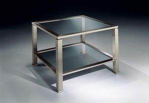 MADISON 3271, Mesa de centro cuadrada de latón niquelado, tapa de cristal