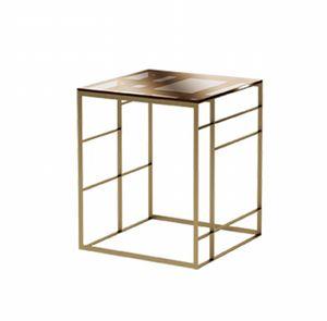 Matrix Mesa auxiliar, Mesa en metal de bronce y vidrio