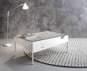 Medea mesa de centro rectangular, Metalllo mesa rectangular con tapa de cristal