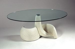 Poseidon, Mesa de estilo clásico, piedra y vidrio.
