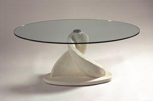 Shell, Mesita ovalada con tapa de cristal