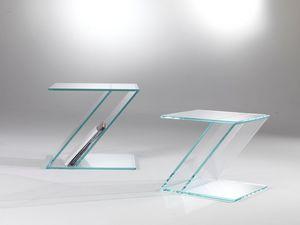 Tavolino 02, Mesa de centro de cristal, Zed forma, con revistero