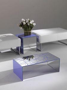 Tavolino 03, Mesa de centro rectangular, hecha de cristal de color