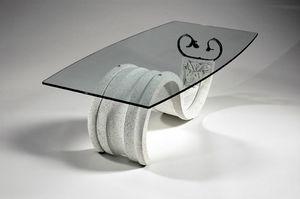 Tellus, Mesa de centro de estilo clásico con tapa de cristal
