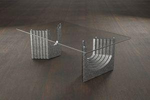 Ulisse, Mesa de centro moderna con tapa de cristal