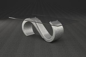 Urano, Mesa de centro con tapa de cristal rectangular