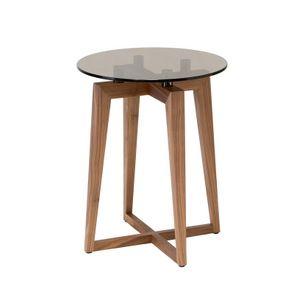 Zen mesa auxiliar redonda, Canaletto mesa de nogal pequeña con la parte superior redonda de cristal