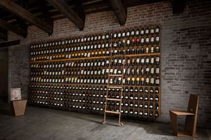 Libreria del vino - Wine bookcase, Estante de botellas modular de pared o piso