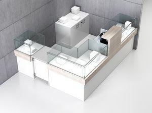 Quadratum frame comp. 05, Mostrador de esquina para tiendas, con tres vitrinas