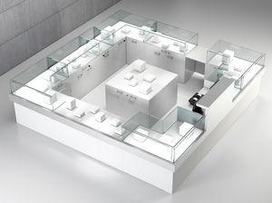 Quadratum frame comp. 09, Contador cuadrado para tiendas, con armario central