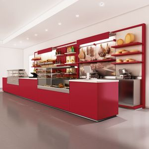 Revolución - mostrador con unidad de visualización para panadería, Mostrador para panadería, personalizable