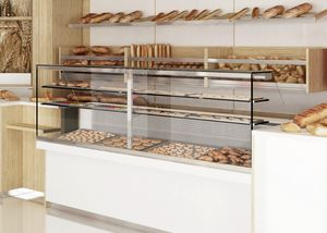 Revolution - mostrador con vitrina para panadería, Mostrador de panadería con vitrina